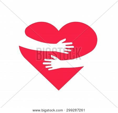 Hugging Heart. Hands Holding Heart Arm Embrace Love Yourself Child Hope Cardiology Gift Romance Rela