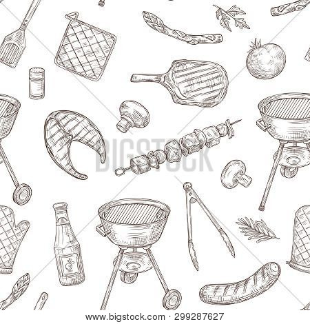 Barbecue Seamless Pattern. Sketch Barbeque Chicken Grill Vegetables Fried Steak Meat Picnic Party Vi