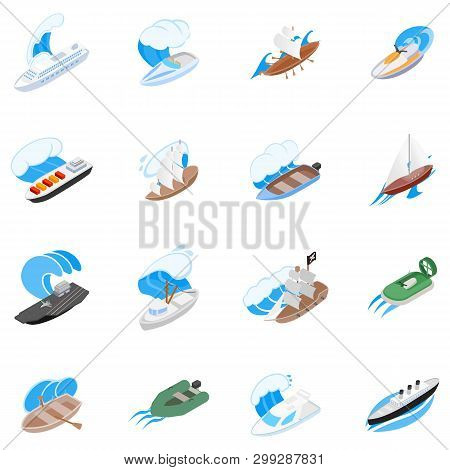Seafarer Icons Set. Isometric Set Of 16 Seafarer Vector Icons For Web Isolated On White Background