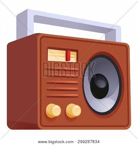 Retro Old Radio Icon. Cartoon Of Retro Old Radio Vector Icon For Web Design Isolated On White Backgr