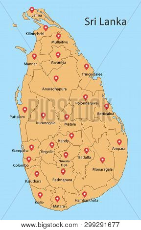 District Map Of Sri Lanka.district Map Of Sri Lanka Drawing By Illustration. All District Twenty Fiv