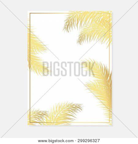 Minimalist Botanical Wedding Invitation Card Template Design. Vector Decorative Greeting Card Or Inv