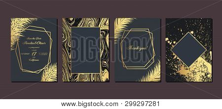 Gold Wedding Invitation With Tropical Leaves.  Luxury Wedding Invitation Cards With Gold Marble Text