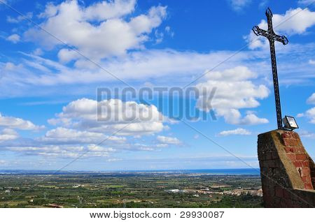 aerial view of Costa Daurada from Shrine of Virgin de la Roca in Mont-roig, Spain