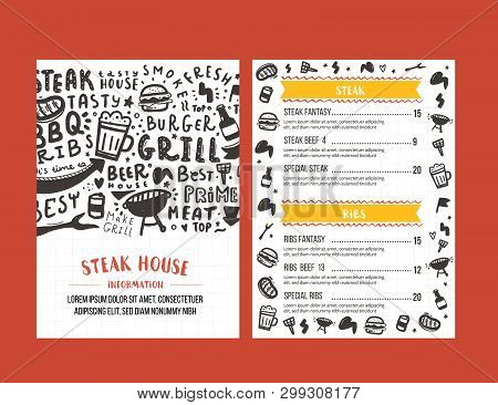 Steak Menu Design. Bbq Grill Poster With Sketch Icons. Barbecue Cafe Design