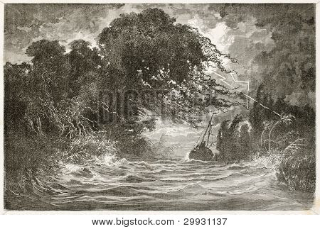Night storm in Breves channel, Amazon basin. Created by Riou and Hildibrand, published on Le Tour du Monde, Paris, 1867