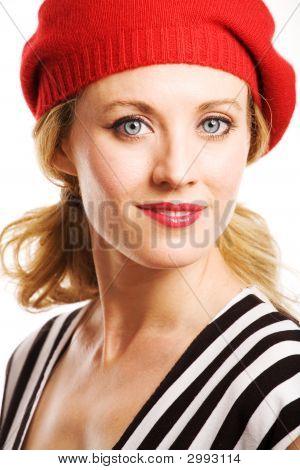 Beautiful Woman Wearing Red Beret