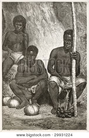 New Caledonian fruit merchants old illustration. Created by Loudet after photo of unknown author, published on Le Tour Du Monde, Paris, 1867