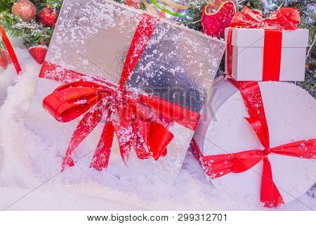 Art Christmas Greeting Card With Big Gifts