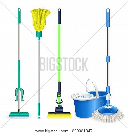 Mop Icons Set. Realistic Set Of Mop Icons For Web Design Isolated On White Background