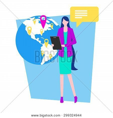 Woman Television Reporter Weather Forecast Newsreader Journalist Vector Illustration. Travel Agency