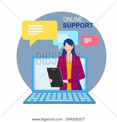 Woman Assistant On Notebook Display Online Technical Support Vector Illustration. Internet Virtual H