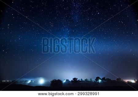 Starry Sky Universe Background Galaxy Of Milky Way, Blue Space Background With Stars, Cosmos, Meteor