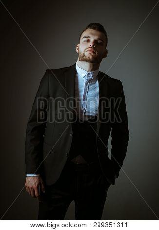 Metrosexual. Elegant Man In Suit. Modern Man In Rormal Suit. Male Fashion. Man In Classic Suit Shirt