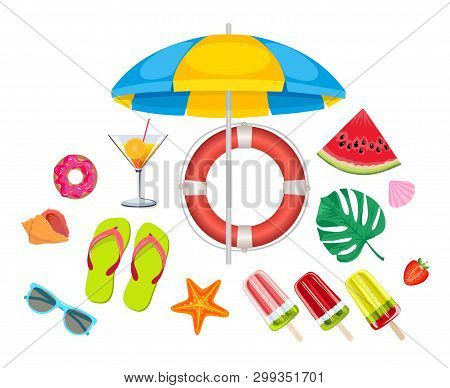 Summer Beach, Set Of Vector Icons. Set Of Cute Summer Icons. Summer Time In Beach Sea Objects. Brigh
