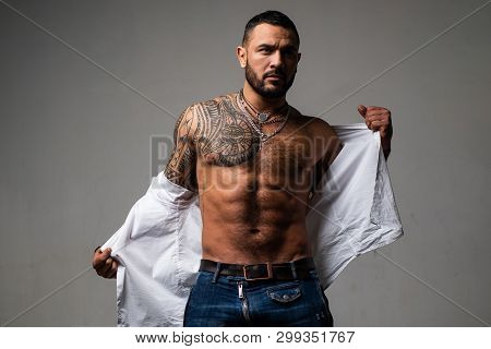 Confidence Charisma. Muscular Macho Man With Athletic Body. Sport And Fitness, Health. Sexy Abs Of T