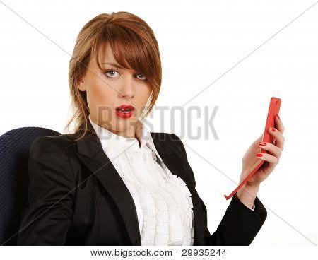 Young Business Woman  With Cellphone