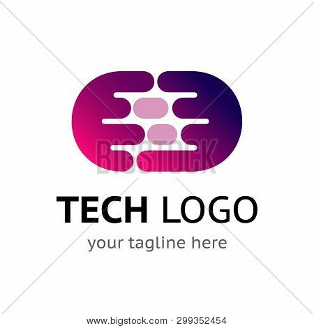 Digital Logo Template With Sample Company Name And Tagline. Simple Vector Icon. Abstract Round Purpl
