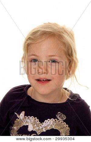 portrait of a girl. child's head. against a white background
