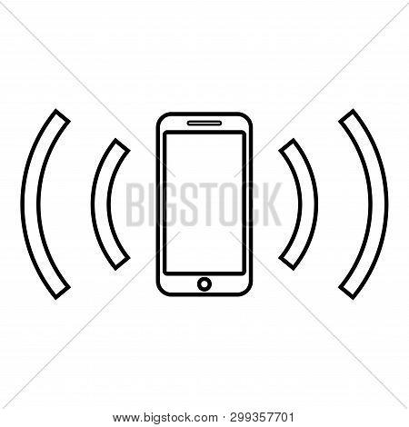 Smartphone Emits Radio Waves Sound Wave Emitting Waves Concept Icon Outline Black Color Vector Illus