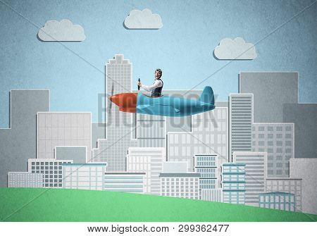 Businessman sitting in small propeller plane and flying above metropolis. Aviator driving retro airplane on background of city illustration. Cityscape with high skyscrapers and office buildings. poster