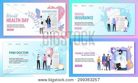 Online Consultation Family Find Doctor Service World Health Day Dental Insurance Vector Illustration