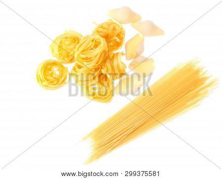 Raw Dry Tagliatelle Noodle, Conchiglioni, Italian Pasta Isolated On White Background