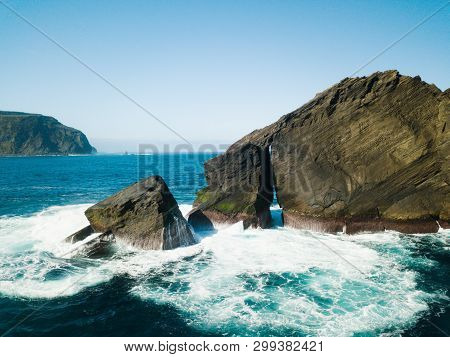 Birds Eye View Picture About Wild Rock Formations In The Middle Of The Open Atlantic Ocean Next To M