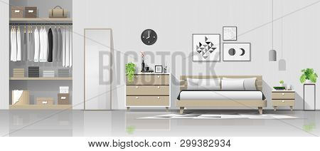 Interior Background With Modern Cozy Bedroom , Vector , Illustration