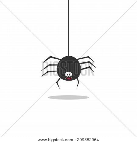 Black Spider On A White Background. Spider Is Coming Down. Cartoon Spiders.