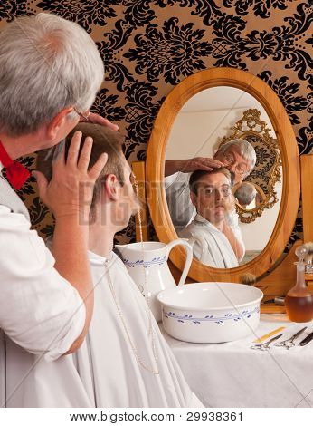 Historical re-enactment of an old victorian barber shop