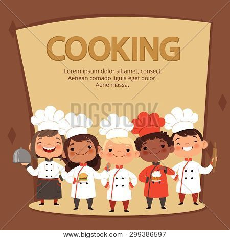Kids Characters Prepare Food. Cooking Kids Chefs Banner Vector Template. Chef Restaurant Children, C