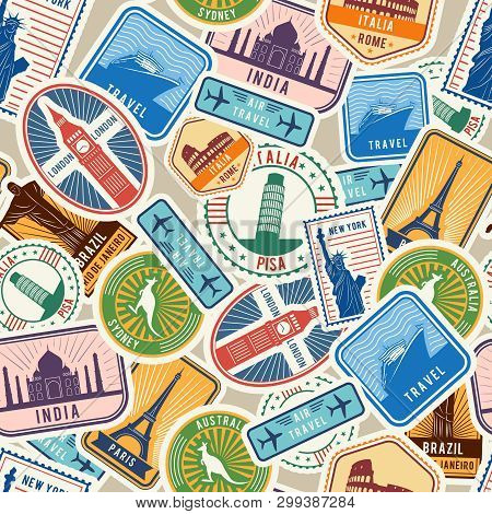 Travel Pattern. Immigration Stamps Stickers With Historical Cultural Objects Travelling Visa Immigra