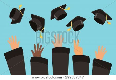 Students Throw Graduation Caps Into The Air Vector Background. Illustration Of Celebration Graduatio