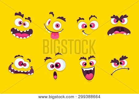 Cartoon Faces. Emotions Smirk Expressions, Smile Mouth With Teeth And Scared Eyes Characters Vector