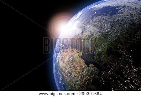The Earth Globe From Space In Showing The Terrain And Clouds. High Resolution Planet Earth View. 3d