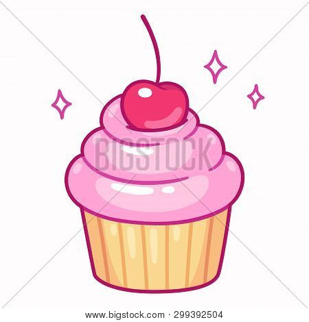 Cute Cupcake With Pink Frosting And Cherry, Cartoon Drawing. Isolated Vector Illustration.
