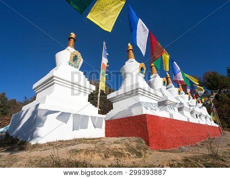Eight Stupas In Za-sa Or Zasa Monastery Near Sallery Vilage, Solukhumbu, Nepal
