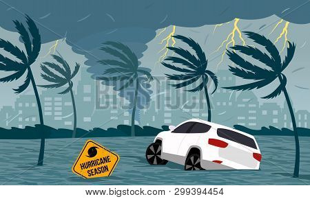 Tornado Hurricane Florence, Emerging From The Ocean. Flooding The City And Cars. Car Accident. A Tro