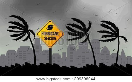 Tornado Hurricane Florence, Coming From The Ocean. Huge Waves On Houses On The Coast. Tropical Disas