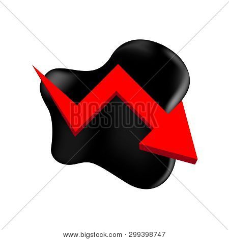 Crude Oil With Falling Graph And Symbol Red Arrow Isolated On White Background, Black Crude Oil Drop
