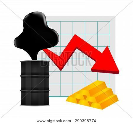 Crude Oil With Falling Graph And Gold Bar Symbol Red Arrow Isolated On White Background, Black Crude