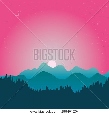 The Abstract Vector Image Reforestation In The Foreground And Different Levels Of The Mountains In T