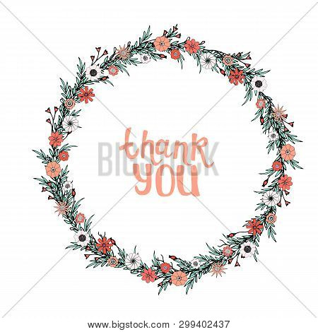 Vector Illustration Wreath With Coral And White Flowers, Agua Leaves And Herbs. Hand-drawn Spring Fr