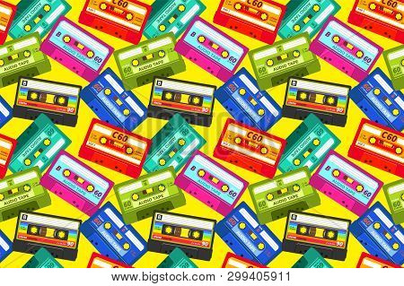 Vintage Cassettes Pattern. Pop Music Retro 1980s Sound Tape, Old School Stereo Technology, Dj Mix Ta