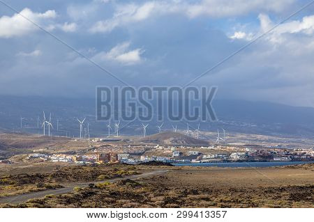 Wind Turbines On The Island - Ecological Source Of Cheap Energy