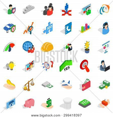 Solution Icons Set. Isometric Style Of 36 Solution Icons For Web Isolated On White Background