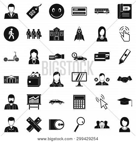 Action Icons Set. Simple Style Of 36 Action Icons For Web Isolated On White Background