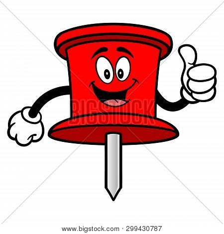 Push Pin Mascot With Thumbs Up - A Vector Cartoon Illustration Of An Office Push Pin Mascot.