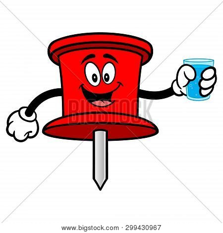 Push Pin Mascot With A Glass Of Water - A Vector Cartoon Illustration Of An Office Push Pin Mascot.